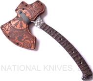 "RMJ Tactical Custom Valhalla Berserker Tomahawk, 4.94"" Forward Edge 4140, Brown Micarta Handle, Leather Sheath"