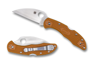 "Spyderco Delica 4 C11FPWCORE Sprint Run Folding Pocket Knife, Wharncliffe 2 7/8"" Plain Edge HAP40/SUS410 Blade, Burnt Orange FRN Handle"
