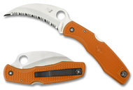 Spyderco SpyderHawk Salt C77SOR Sprint Run Folding Knife, Serrated Edge H-1 Stainless Steel Blade, Orange FRN Handle