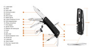 """Ruike Knives Criterion Collection L41-B Multitool Folding Knife, 3.4"""" Plain Edge Blade, 22 Functions, Black G-10 Handle"""