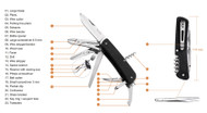 """Ruike Knives Criterion Collection L51-B Multitool Folding Knife, 3.4"""" Plain Edge Blade, 23 Functions, Black G-10 Handle"""