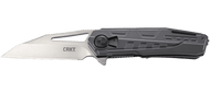 "CRKT Raikiri 5040 Flipper Folding Knife, 3.75"" Plain Edge Blade, Gray Aluminum Handle"