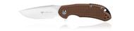 """Steel Will Knives Cutjack Mini C22M-1TN Folding Knife, 3.062"""" Plain Edge D2 Blade, Brown FRN Handle"""