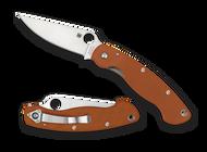 "Spyderco Military C36GPBORE Sprint Run Folding Knife, 4"" Plain Edge CPM Rex 45 Blade, Orange G-10 Handle"