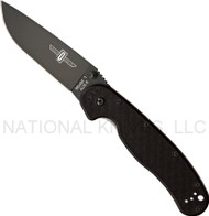 "Ontario RAT 1 8846 BP Folding Knife, Black 3.5"" Plain Edge Blade"