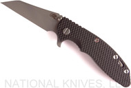 "Rick Hinderer Knives XM-18 Wharncliffe Folding Knife, Working Finish 3.5"" Plain Edge 20CV Blade, Working Finish Lock Side, Black G-10 Handle"
