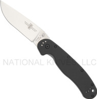 "Ontario RAT 1 8848 Folding Knife, Satin 3.6"" Plain Edge Blade, Black Handle"