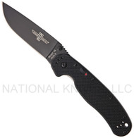 "Ontario RAT 1A 8871 Assisted Opening Folding Knife, Black 3.6"" Plain Edge Blade"