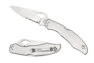 """Byrd Cara Cara 2 BY03PS2 Folding Knife, 3.75"""" Partially Serrated Edge Blade, Stainless Steel Handle"""