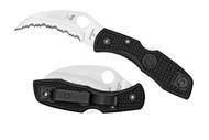 "Spyderco Tasman Salt C106SBK Folding Knife, 2.94"" Serrated Edge H-1 Blade, Black FRN Handle"