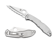 """Spyderco Delica 4 C11S Folding Knife, 2.937"""" Serrated Edge Blade, Stainless Steel Handle"""