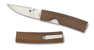 "Spyderco Nilakka C164GPBN Folding Knife, 3-3/8"" Plain Edge Blade, Brown G-10 Handle"