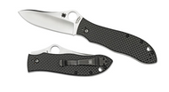 "Spyderco Gayle Bradley C134CFP Folding Knife, 3.44"" Plain Edge M4 Blade, Black Carbon Fiber and G-10 Laminated Handle"
