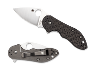"Spyderco Dice C182CFTIP Flipper Folding Knife, 2.5"" Plain Edge Blade, Black Carbon Fiber - G-10 Laminate and Titanium Handle"