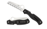 "Spyderco Atlantic Salt C89SBK Folding Knife, 3.687"" Serrated Edge Blade, Black FRN Handle"
