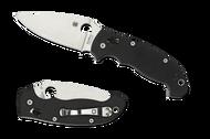 "Spyderco Manix 2 XL C95GP2 Folding Knife, Satin 3.875"" Plain Edge Blade, Black G-10 Handle"