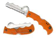 "Spyderco Assist C79PSOR Rescue Folding Knife, Satin 3.687"" Partially Serrated Blade, Orange FRN Handle"