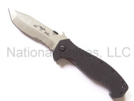 "Emerson Knives CQC-15 SFS Folding Knife, Satin 3.9"" Partially Serrated 154CM Blade, Black G-10 Handle, Emerson ""Wave"" Opener"