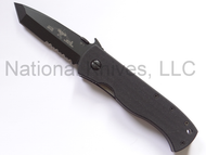 "Emerson CQC-7BW BTS Tanto Folding Knife, Black 3-1/8"" Partially Serrated Edge 154CM Blade, Black G-10 Handle, Emerson ""Wave"" Opening Feature"