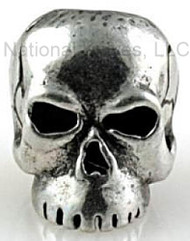 "Schmuckatelli Classic Skull Bead CP, 3/16"" Hole, Solid Pewter"