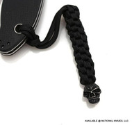 Schmuckatelli Emerson Skull Lanyard EBLBB, Black Oxide Finished Bead, Black Paracord