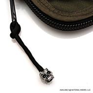Schmuckatelli Cyber Skull Zipper Pull CYSZPP, Solid Pewter Bead, Black Paracord
