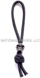 Schmuckatelli Emerson Skull Diamond Knot Zipper Pull EDKZPB, Black Oxide Finished Bead, Black Paracord