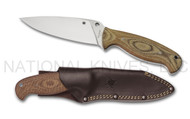 "Spyderco Temperance 2 FB05P2 Fixed Blade Knife, 4-7/8"" Plain Edge VG-10 Blade, Leather Sheath"