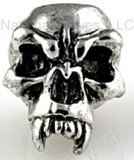 """Schmuckatelli Fang Skull Bead FAR, 3/16"""" Hole. Antique Rhodium Plated"""