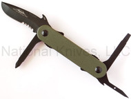 "Emerson Multitasker EDC-2 Multitool, Black 2.6"" Partially Serrated Edge Blade, Green G-10 Handle"