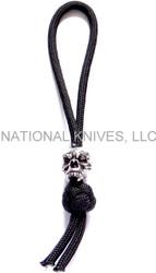 Schmuckatelli Fang Skull Diamond Knot Zipper Pull FDKZPP, Solid Pewter Bead, Black Paracord