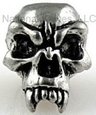 "Schmuckatelli Fang Skull Bead FP, 3/16"" Hole, Solid Pewter"