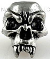 """Schmuckatelli Fang Skull Bead FP, 3/16"""" Hole, Solid Pewter"""