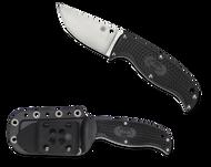 "Spyderco Enuff Clip Point FB31CPBK Fixed Blade Knife, 2.75"" Plain Edge Blade, Black FRN Handle, Sheath"