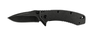 "Kershaw Cryo 1555BW Assisted Opening Knife, Blackwashed 2.75"" Plain Edge Blade, Blackwashed Stainless Steel Handle"