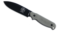 "ESEE Laser Strike LS-P Fixed Blade Knife, Black 4.75"" Plain Edge Blade, Linen Micarta Handle, Clip Plate, Black Sheath"