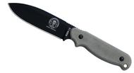 "ESEE Laser Strike LS-P Fixed Blade Knife, Black 4.75"" Plain Edge Blade, Linen Micarta Handle, Clip Plate, Black Sheath"