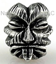 "Schmuckatelli Kiko Tiki Bead KP, 3/16"" Hole, Solid Pewter"