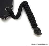 Schmuckatelli Grins Skull Lanyard GBLBB, Black Oxide Finished Bead, Black Paracord
