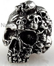 "Schmuckatelli Mind Skull Bead MP, 3/16"" Hole, Solid Pewter"