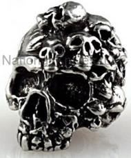 """Schmuckatelli Mind Skull Bead MP, 3/16"""" Hole, Solid Pewter"""
