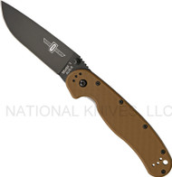 "Ontario RAT 1 O8846CB Folding Knife, Black 3.6"" Plain Edge Blade, Coyote Brown Handle"