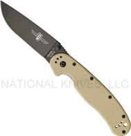 "Ontario RAT 1 O8846DT Folding Knife, Black 3.5"" Plain Edge Blade, Desert Tan Handle"