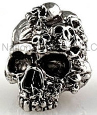 "Schmuckatelli Mind Skull Bead MAR, 3/16"" Hole, Antique Rhodium Plated"