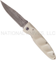 "Mcusta MC-15D Folding Knife, 3.375"" Plain Edge Damascus Blade, Corian Handle"