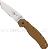 "Ontario RAT 1 O8848CB Folding Knife, Satin 3.5"" Plain Edge Blade, Coyote Brown Handle"