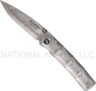 "Mcusta Take MC-33D Damascus Folding Knife , 2.75"" Plain Edge Damascus Blade"