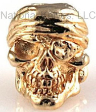 "Schmuckatelli One-Eyed Jack Skull Bead OJG, 3/16"" Hole, 18K Gold Plated"