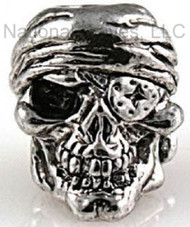 "Schmuckatelli One-Eyed Jack Skull Bead OJAR, 3/16"" Hole, Antique Rhodium Plated"