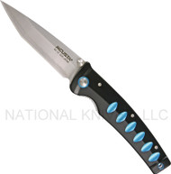 "Mcusta Katana MC-41C Folding Knife, 3.25"" Plain Edge Blade, Black and Blue Aluminum Handle"